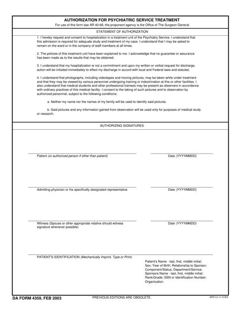 DA Form 4359  Printable Pdf