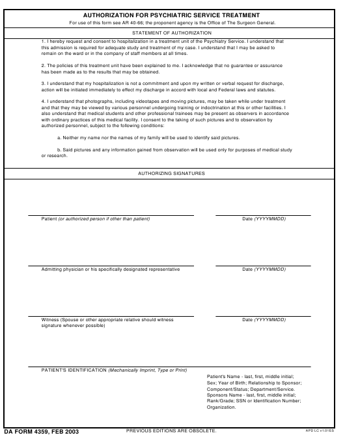 DA Form 4359 Fillable Pdf