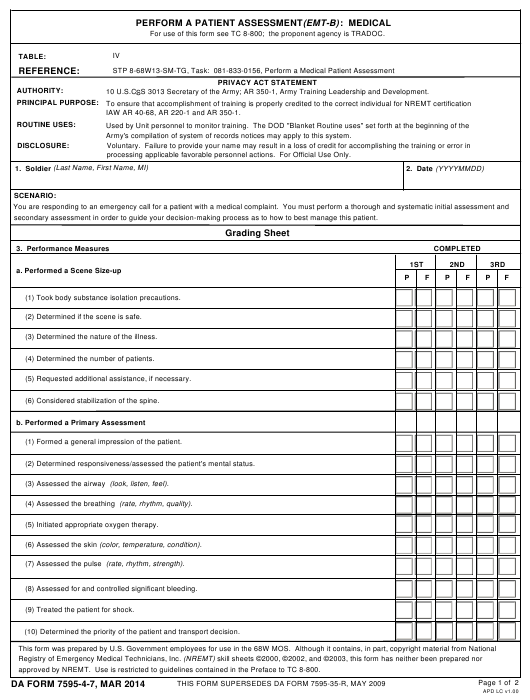 Da Form 7595 4 7 Download Fillable Pdf Or Fill Online Perform A Patient Assessment Emt B Medical Templateroller This assessment would be used in place of your rapid medical assessment. patient assessment emt b medical