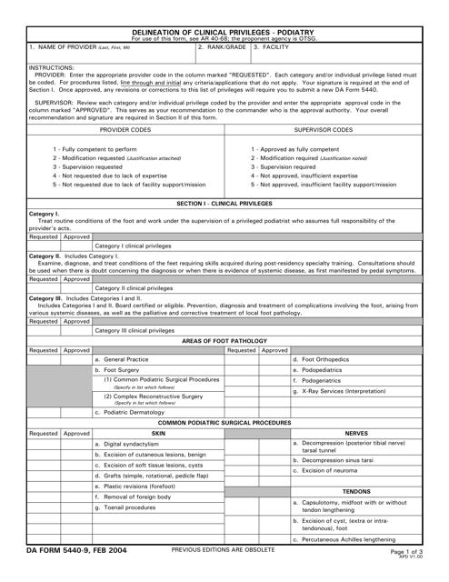 DA Form 5440-9  Fillable Pdf