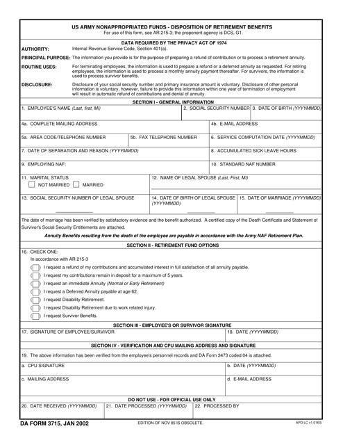 DA Form 3715 Printable Pdf