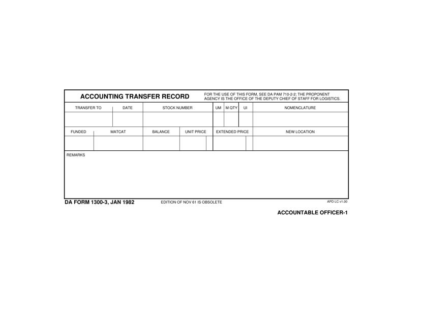 DA Form 1300-3 Fillable Pdf