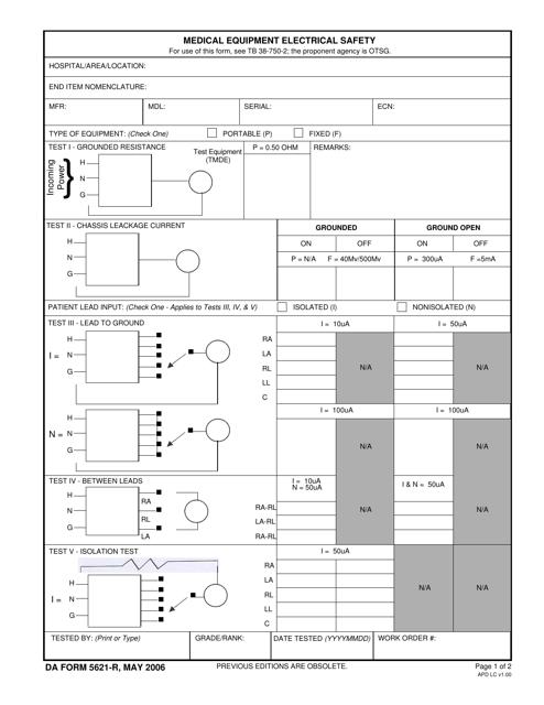 DA Form 5621-R  Printable Pdf