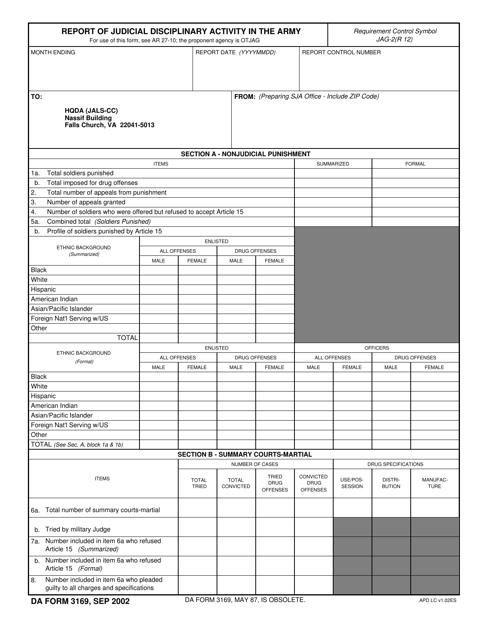 DA Form 3169  Printable Pdf