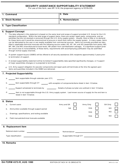 DA Form 4372-R  Fillable Pdf