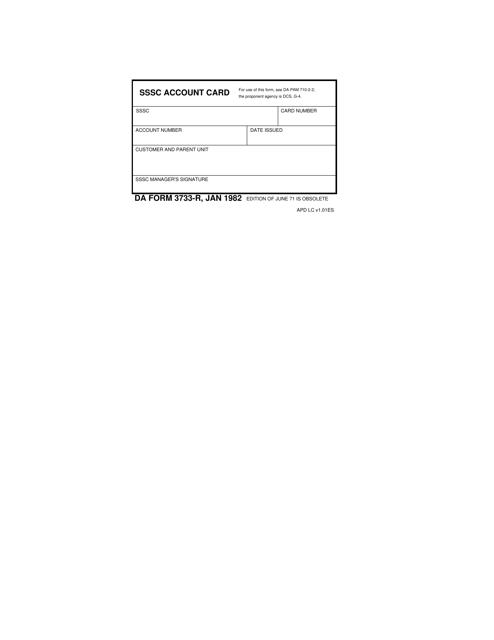 DA Form 3733-R Fillable Pdf