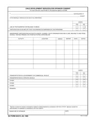 DA Form 5222-R Child Development Services (Cds) Sponsor Consent Form
