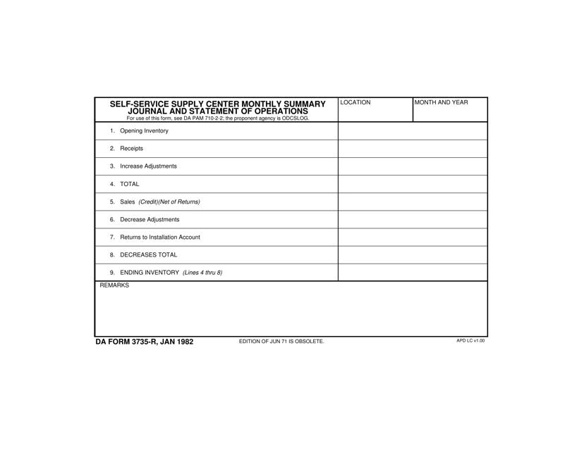 DA Form 3735-R Fillable Pdf