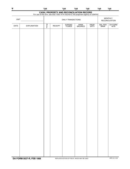 DA Form 5627-R  Fillable Pdf