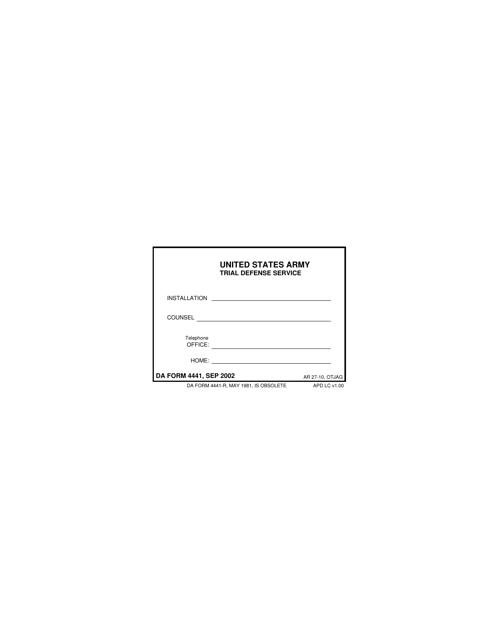 DA Form 4441 Fillable Pdf