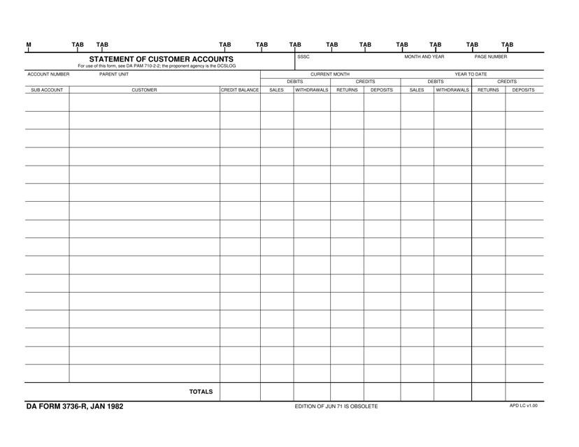 DA Form 3736-R Fillable Pdf