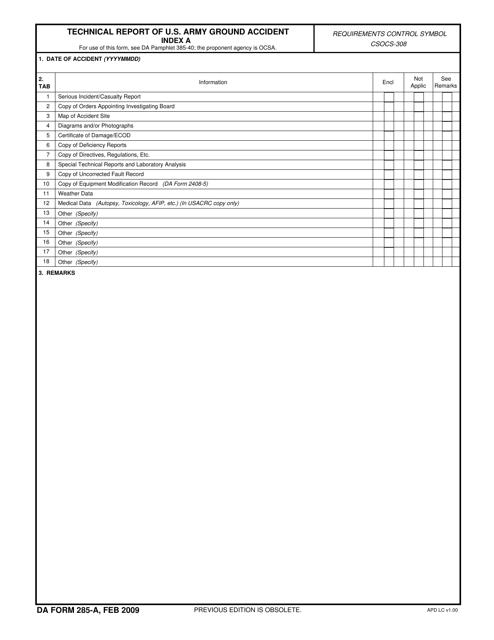 DA Form 285-A  Fillable Pdf