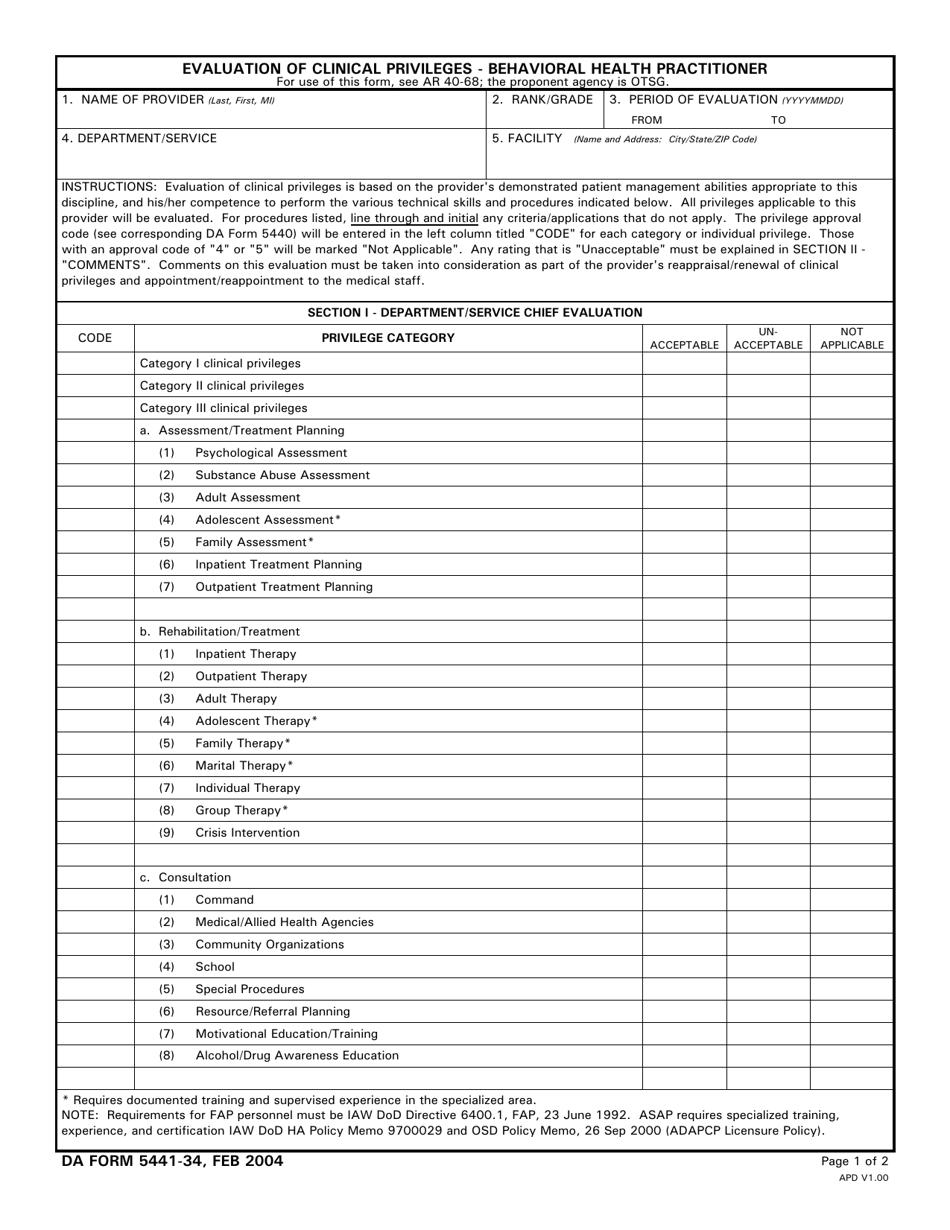 Da Form 5441 34 Download Printable Pdf Or Fill Online Evaluation Of Clinical Privileges Behavioral Health Practitioner Templateroller
