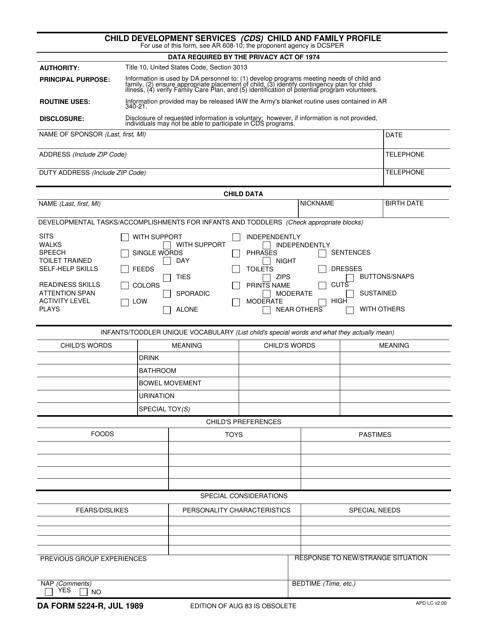 DA Form 5224-R Fillable Pdf