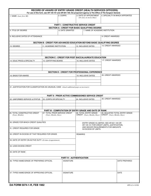 DA Form 5074-1-R Fillable Pdf