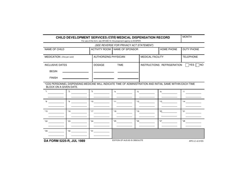 DA Form 5225-R Fillable Pdf