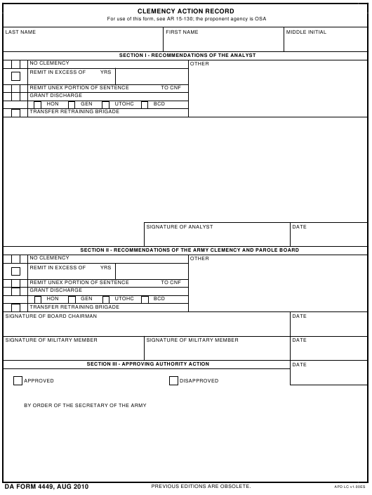 DA Form 4449 Fillable Pdf