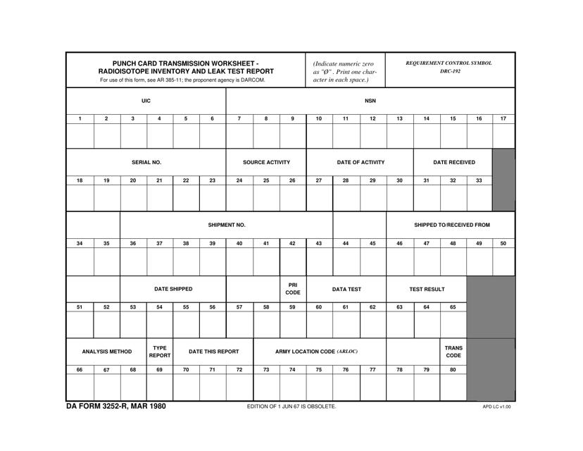 DA Form 3252-R  Printable Pdf