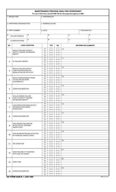 DA Form 4838-R  Printable Pdf