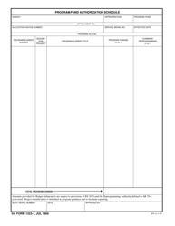 DA Form 1323-1 Program/Fund Authorization Schedule