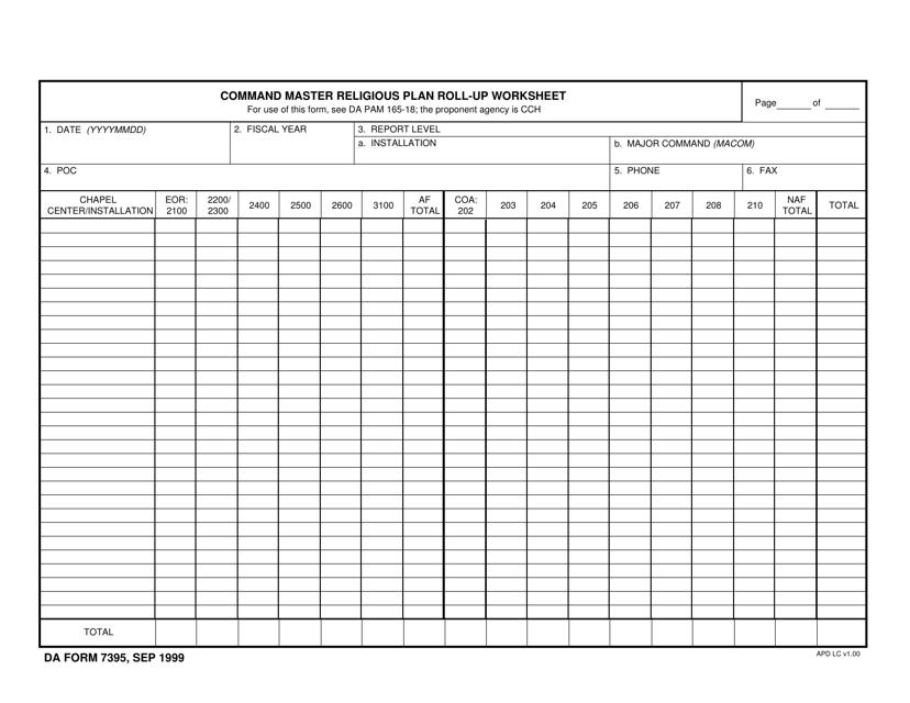 DA Form 7395  Printable Pdf