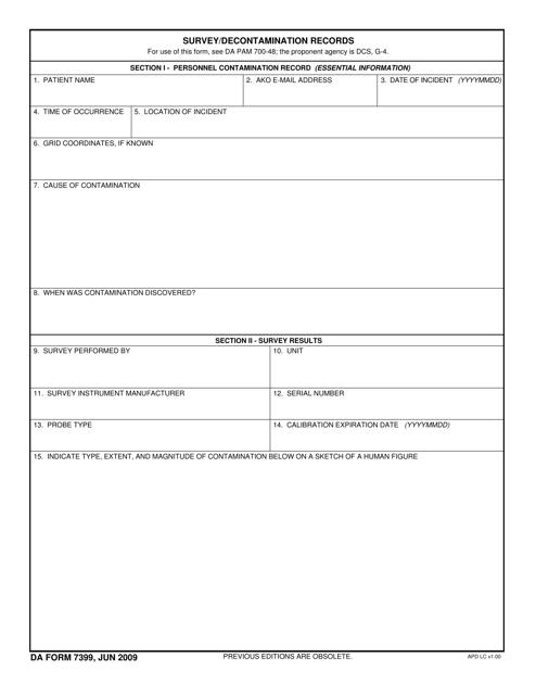 DA Form 7399  Printable Pdf