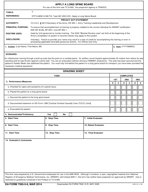 DA Form 7595-5-8  Printable Pdf