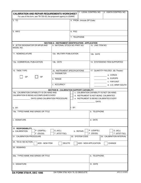 DA Form 3758-R  Printable Pdf