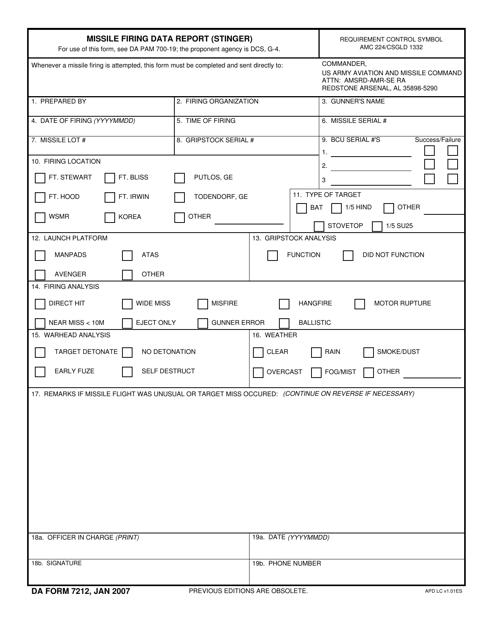 DA Form 7212 Fillable Pdf