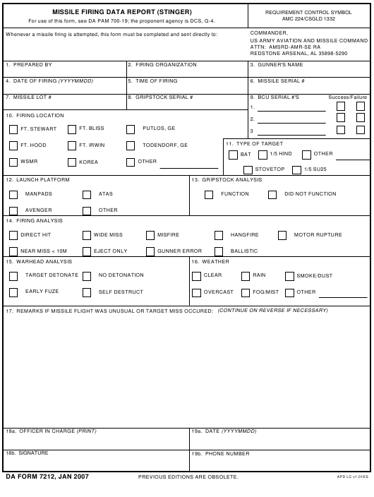 DA Form 7212  Fillable Pdf