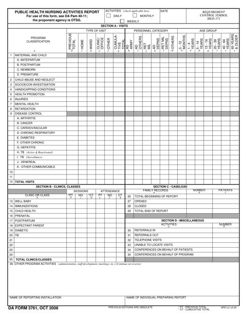 DA Form 3761  Printable Pdf