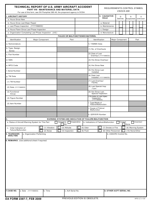 DA Form 2397-7  Fillable Pdf