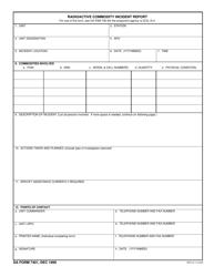 DA Form 7401 Radioactive Commodity Incident Report