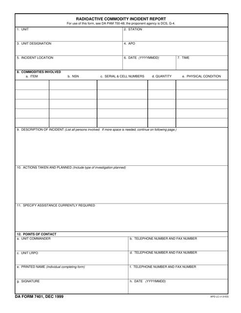DA Form 7401 Fillable Pdf