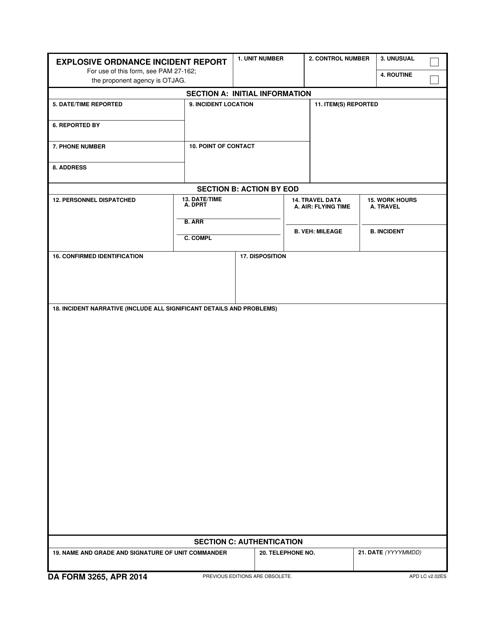 DA Form 3265 Fillable Pdf