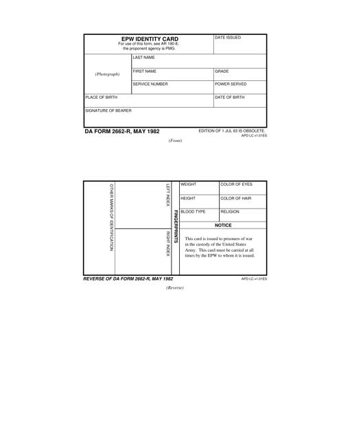 DA Form 2662-R  Fillable Pdf