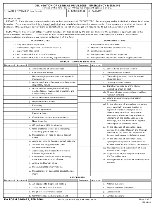 DA Form 5440-23 Download Printable PDF, Delineation of
