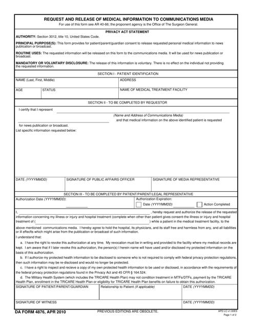 DA Form 4876 Fillable Pdf