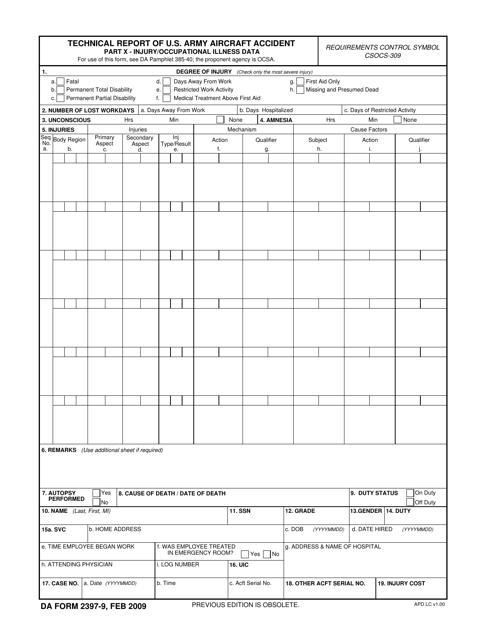 DA Form 2397-9  Fillable Pdf