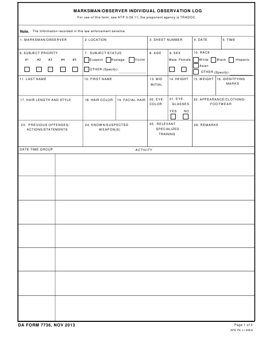 DA Form 7736  Fillable Pdf