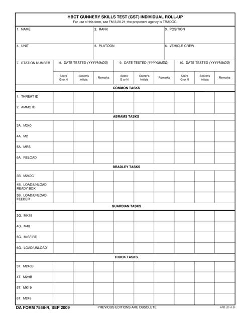 DA Form 7558-R Fillable Pdf