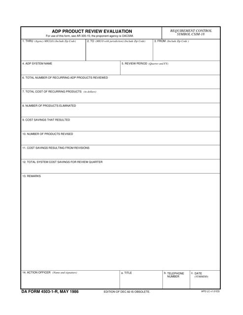 DA Form 4503-1-R  Printable Pdf