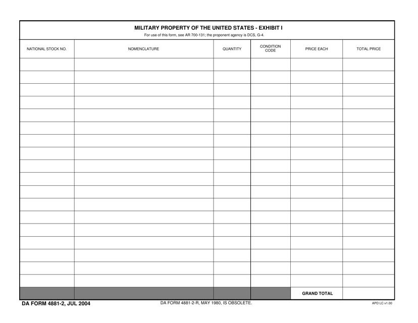 DA Form 4881-2 Fillable Pdf