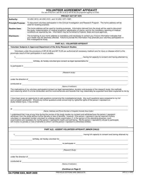 Da Form 5303 Download Fillable Pdf Volunteer Agreement