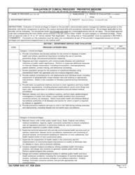 DA Form 5441-47 Evaluation Of Clinical Privileges - Preventive Medicine