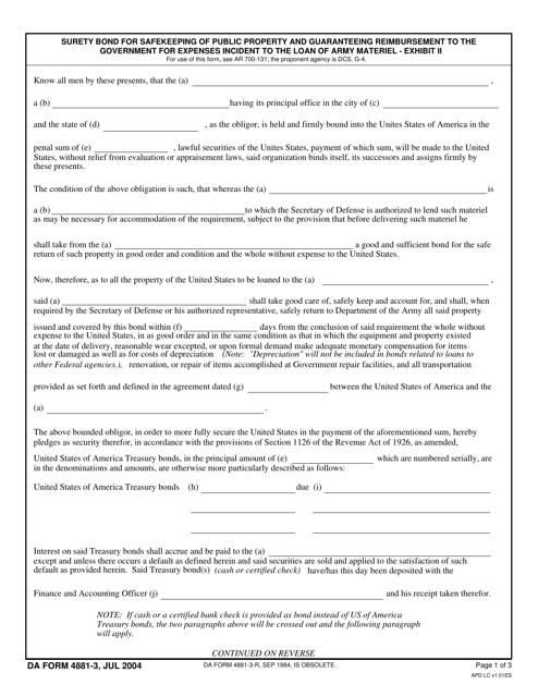 DA Form 4881-3 Fillable Pdf