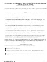 DA Form 5678-R Policy Statement and Memorandum of Understanding for Participation in the U.S. Army Potential Contractor Program