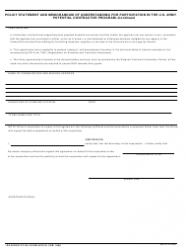 DA Form 5678-R Policy Statement and Memorandum of Understanding for Participation in the U.S. Army Potential Contractor Program, Page 2