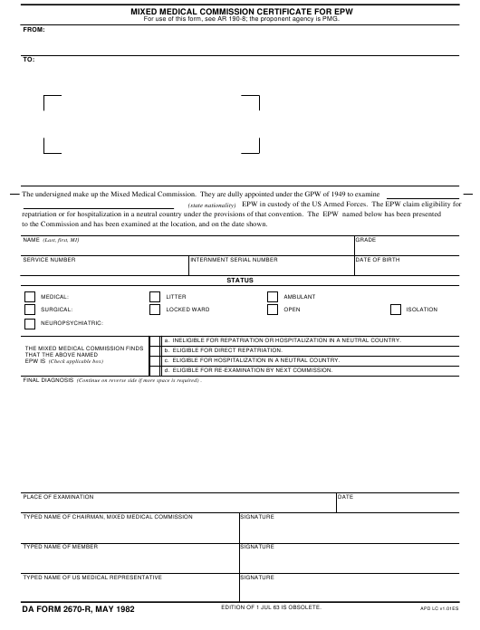 DA Form 2670-R Fillable Pdf