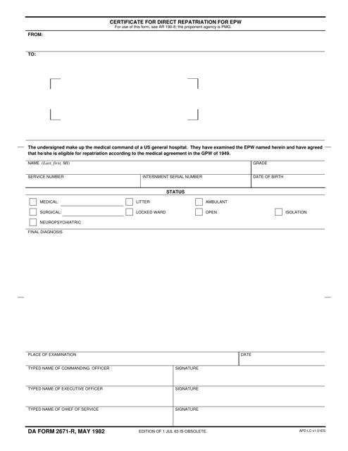 DA Form 2671-R Printable Pdf